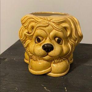 Vintage Yellow Speckled Lion Planter